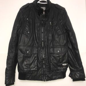 Jack&Jones Black Leather Classic Motorbike Jacket